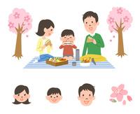 お花見する家族