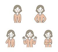おばあちゃん表情5パターン