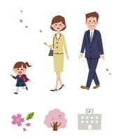 入学式に向かう家族・春アイコン 10423001092| 写真素材・ストックフォト・画像・イラスト素材|アマナイメージズ