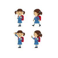 小学生の女の子(制服、笑顔、登校、指差し)