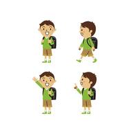 小学生の男の子(私服、笑顔、登校、指差し)