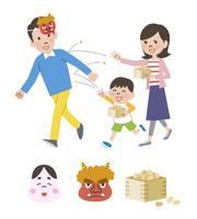 節分をする親子と節分のアイコン