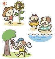夏の動物キャラ(ひまわり、海、虫取り)