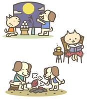 秋の動物キャラ(十五夜、読書、焼き芋)