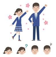 女子高校生と男子高校生の新入生と顔アイコン