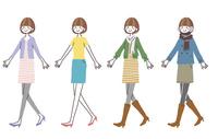 歩く女性(四季の服装)