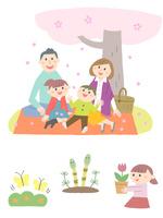 春の家族とちょうちょ・つくし