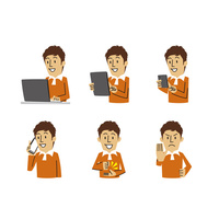 男性表情(パソコン、タブレット、スマートフォン、相槌、断る) 10423001144| 写真素材・ストックフォト・画像・イラスト素材|アマナイメージズ