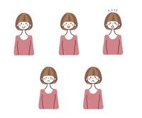 若い女性の表情5パターン