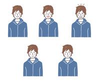若い男性の表情5パターン 10423001154| 写真素材・ストックフォト・画像・イラスト素材|アマナイメージズ