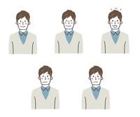 男性の表情5パターン