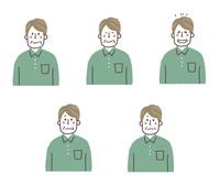 シニア男性の表情5パターン