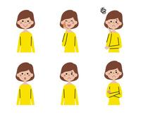 女性(ボブヘアー)の表情6パターン