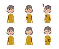 シニア女性(ボブヘアー)の表情6パターン
