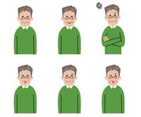 シニア男性の表情6パターン 10423001162| 写真素材・ストックフォト・画像・イラスト素材|アマナイメージズ