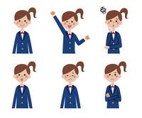 女学生の表情6パターン