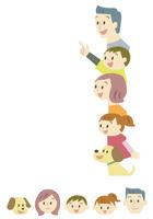家族の顔アイコン・一方向を見る家族