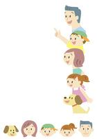 家族の顔アイコン・一方向を見る家族(夏)