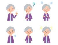 女性高齢者の表情6パターン 10423001181| 写真素材・ストックフォト・画像・イラスト素材|アマナイメージズ