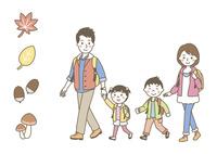 散歩をする家族(秋)・秋アイコン