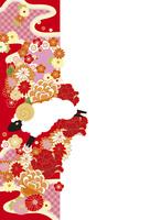 年賀状/未年(羊と花の帯・赤)
