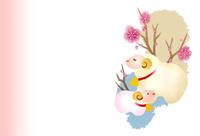 羊の親子と梅 10423001262| 写真素材・ストックフォト・画像・イラスト素材|アマナイメージズ