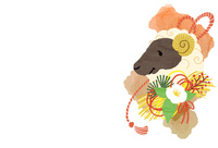 羊と正月飾り 10423001278| 写真素材・ストックフォト・画像・イラスト素材|アマナイメージズ