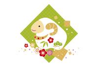 年賀状/未年(羊と梅と七宝柄・緑)