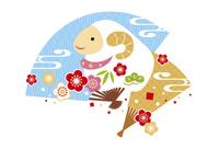 年賀状/未年(羊と梅と扇子・青) 10423001289| 写真素材・ストックフォト・画像・イラスト素材|アマナイメージズ
