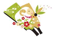 年賀状/未年(羊と梅と羽子板・緑)
