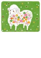 年賀状 花模様の羊 緑