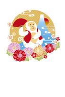 年賀状/申年(猿と富士と花・黄) 10423001312  写真素材・ストックフォト・画像・イラスト素材 アマナイメージズ