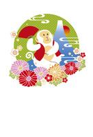 年賀状/申年(猿と富士と花・緑) 10423001313| 写真素材・ストックフォト・画像・イラスト素材|アマナイメージズ