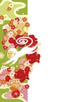 年賀状/申年(猿と花の帯・緑)