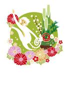 年賀状/申年(猿と雲と門松と花・緑)