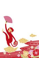 年賀状/申年(猿と花と流水・赤)