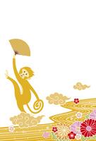 年賀状/申年(猿と花と流水・黄) 10423001326  写真素材・ストックフォト・画像・イラスト素材 アマナイメージズ