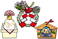 鏡餅と正月飾りと福助絵馬 10424000023| 写真素材・ストックフォト・画像・イラスト素材|アマナイメージズ