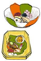 京懐石 先付けと八寸 10424000029| 写真素材・ストックフォト・画像・イラスト素材|アマナイメージズ