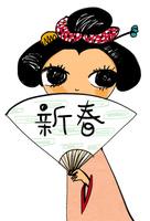 着物を着て扇子を持つ日本髪の女性