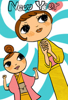 ガッツポーズの着物を着た二人の女性