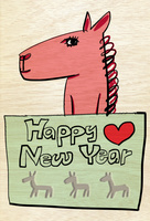 横向きの赤い馬キャラクター 10424000059| 写真素材・ストックフォト・画像・イラスト素材|アマナイメージズ