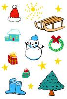 赤い帽子とソリと雪だるまとリースと家と贈り物と木とブーツ