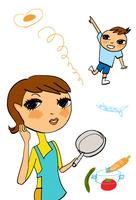 野菜や卵のイメージとフライパンを持つ母親と少年