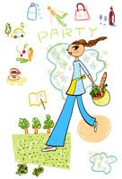 パーティ準備のイメージを背景にした買い物かごを持つ女性 10424000069| 写真素材・ストックフォト・画像・イラスト素材|アマナイメージズ