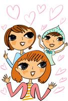 ハートのイメージの中の三人の女友達