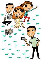 ピクニックをする4人の友人達 10424000073| 写真素材・ストックフォト・画像・イラスト素材|アマナイメージズ