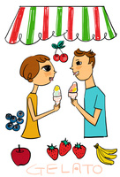 果物を背景にジェラートを食べる若いカップル 10424000074| 写真素材・ストックフォト・画像・イラスト素材|アマナイメージズ