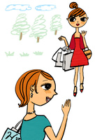 木々を背景に手を振る買い物帰りの女性達
