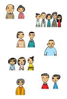 様々な年齢性別の男女16人の上半身